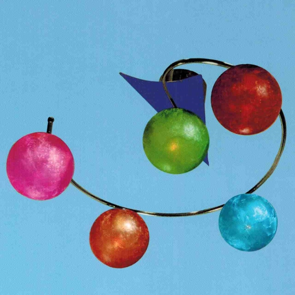 "Picture of 22"" Ciclo Modern Kids / Office Glass Flush Mount Ceiling Lamp Chrome Finish White / Red / Green / Blue / Orange Color 5 Lights"