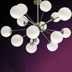 "Picture of 35"" Ciclo Modern Round Foyer / Office Pendant Chrome Finish White Opal Glass 15 Lights"
