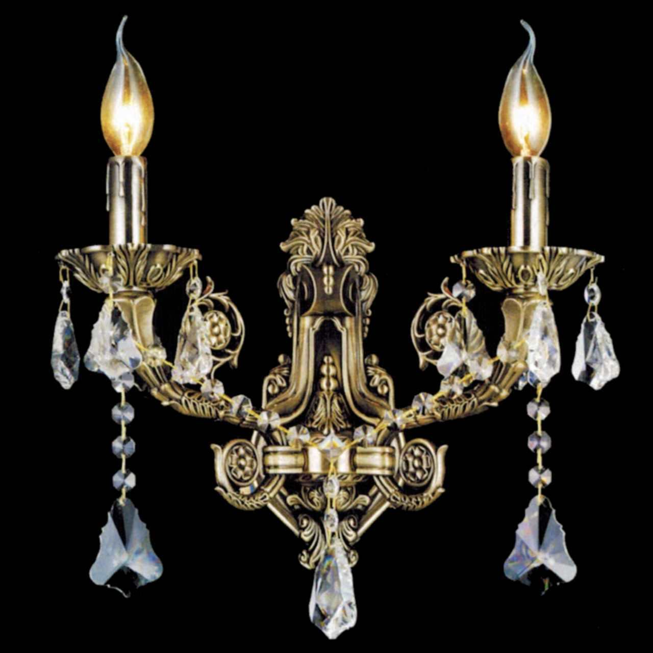 Brizzo lighting stores 14 ottone traditional crystal candle wall picture of 14 ottone traditional crystal candle wall sconce antique brass finish 2 light amipublicfo Gallery