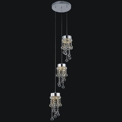 "Picture of 12"" Escalera Modern Crystal Mini Pendants on Round Platform Polished Chrome 3 Lights"