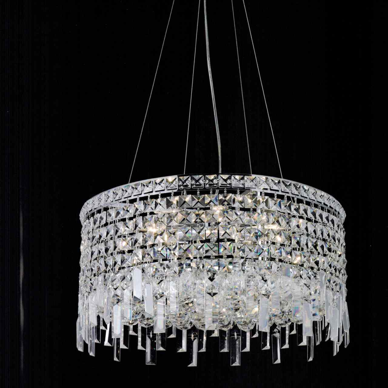 Picture of 16  Bossolo Transitional Crystal Round Pendant Chandelier Polished Chrome 5 Lights  sc 1 st  Brizzo Lighting Stores : crystal light pendant chandeliers - azcodes.com