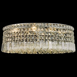 "Picture of 21"" Bossolo Transitional Crystal Oval Flush Mount Chandelier Polished Chrome 6 Lights"
