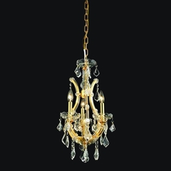 "Picture of 12"" Maria Theresa Traditional Crystal Round Chandelier Gold Plated 4 Lights"