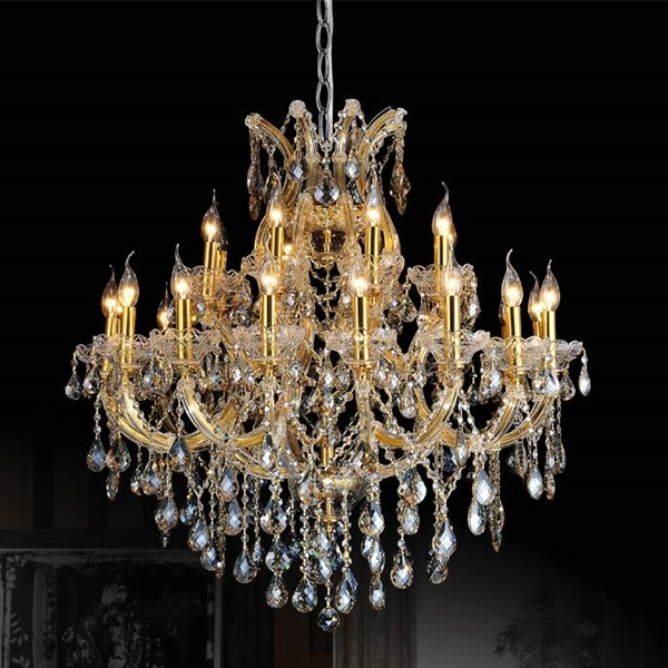 "Picture of 36"" Maria Theresa Traditional Crystal Round 2-Tier Chandelier Polished Chrome / Gold Plated 25 Lights"