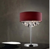 "Picture of 14"" Struttura Modern Crystal Round Table Lamp Double Shade Wine Red Fabric 3 Lights"