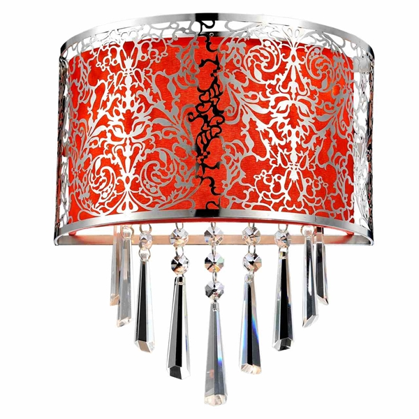 "Picture of 12"" Drago Modern Crystal Round Laser Cut Stainless Steel Shade Red Fabric Wall Sconce 2 Lights"