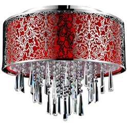 "Picture of 16"" Drago Modern Crystal Round Flush Mount Red Fabric Stainless Steel Shade 6 Lights"