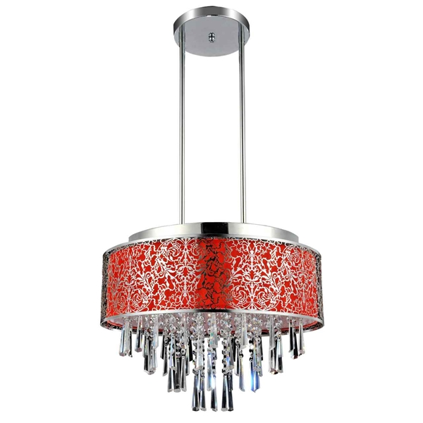 "Picture of 20"" Drago Modern Crystal Round Pendant Chandelier Red Fabric Stainless Steel Shade 9 Lights"