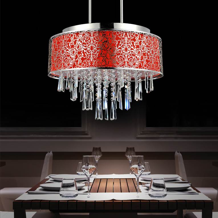 Picture Of 20 Drago Modern Crystal Round Pendant Chandelier Red Fabric Stainless Steel Shade 9