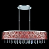"Picture of 38"" Drago Modern Crystal Oval Linear Pendant Chandelier Red Fabric Stainless Steel Shade 7 Lights"
