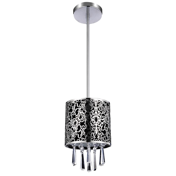 "Picture of 6"" Drago Modern Crystal Round Mini Pendant Black Fabric Stainless Steel Shade 1 Light"