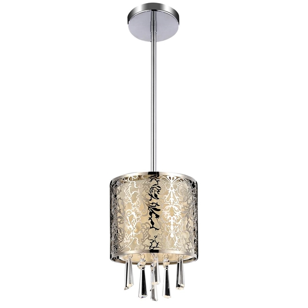 "Picture of 6"" Drago Modern Crystal Round Mini Pendant Off White Fabric Stainless Steel Shade 1 Light"