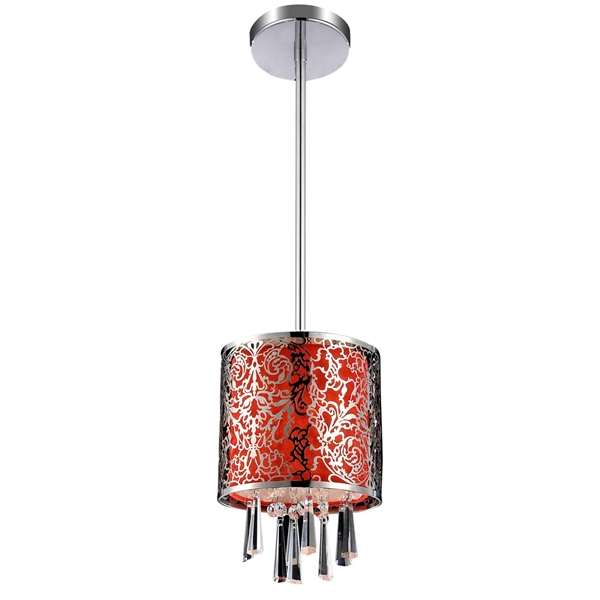 "Picture of 6"" Drago Modern Crystal Round Mini Pendant Red Fabric Stainless Steel Shade 1 Light"