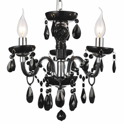 "Picture of 14"" Victorian Traditional Crystal Round Mini Chandelier Jet Black Tear Drops Crystals 3 Lights"