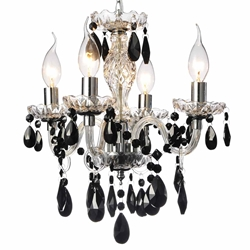 "Picture of 14"" Victorian Traditional Crystal Round Mini Chandelier Polished Chrome Black Crystals 4 Lights"
