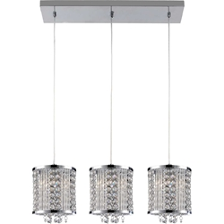 "Picture of 28"" Cristallo Modern Crystal Linear Mini-Pendants on Rectangular Platform Polished Chrome 3 Lights"