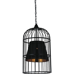 "Picture of 22"" Bird Cage Contemporary Black Iron Large Round Pendant w/Shade 1 Light"