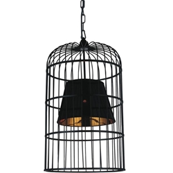 "Picture of 29"" Bird Cage Contemporary Black Iron Oversized Round Pendant w/Shade 1 Light"