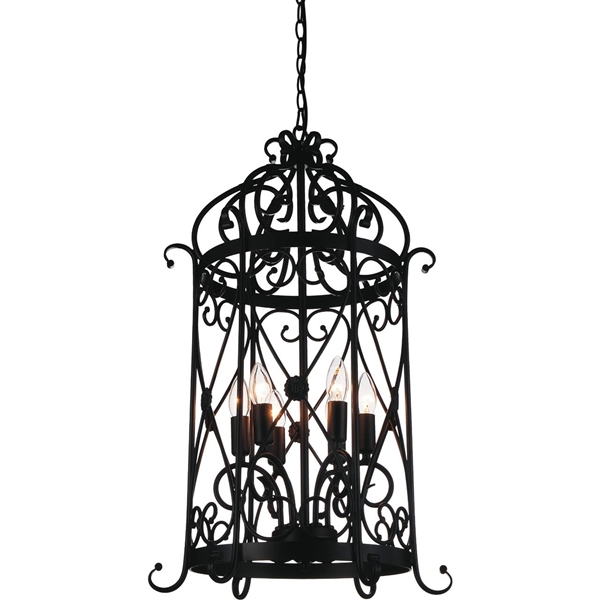 "Picture of 30"" Bird Cage Contemporary Black Iron Large Oversized Pendant 6 Lights"