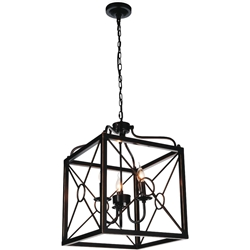 "Picture of 23"" Lantern Contemporary Black Iron Oversized Square Pendant 3 Lights"