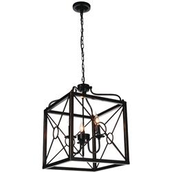 "Picture of 23"" Lantern Contemporary Black Iron Oversized Square Pendant 3 Lights"