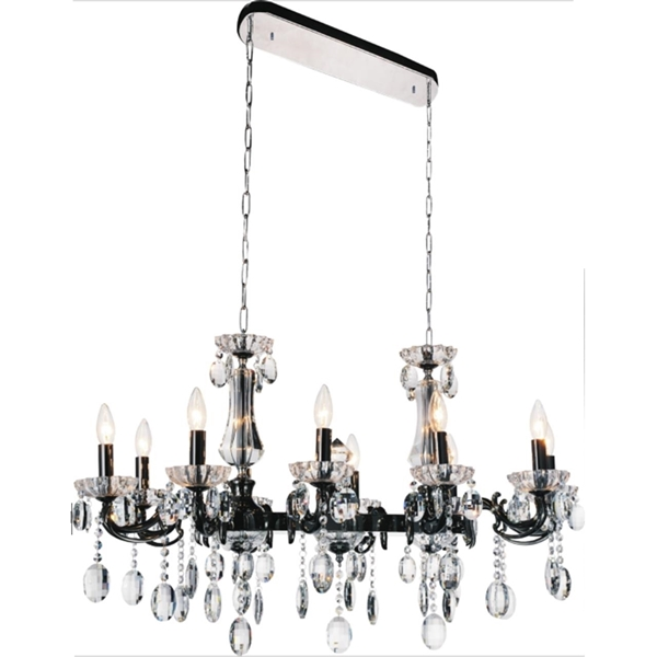 "Picture of 37"" Ottone Traditional Candle Linear Black Chandelier 10 Lights"