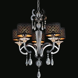 "Picture of 30"" Bello Nero Contemporary Crystal Round Chandelier Black Chrome with Shades 5 Lights"