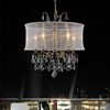 "Picture of 23"" Imperatore Traditional Crystal Candle Round Chandelier w/White Drum Shade Antique Brass Finish 5 Lights"