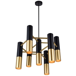 "17"" 7 Light Down Chandelier with Matte Black & Satin Gold finish"