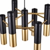 """Picture of 17"""" 7 Light Down Chandelier with Matte Black & Satin Gold finish"""