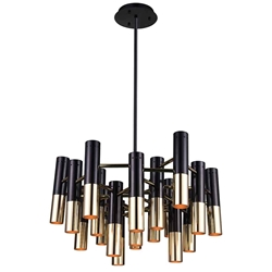 "26"" 19 Light Down Chandelier with Matte Black & Satin Gold finish"