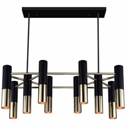 "32"" 10 Light Down Chandelier with Matte Black & Satin Gold finish"