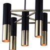 """Picture of 32"""" 10 Light Down Chandelier with Matte Black & Satin Gold finish"""