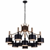 "Picture of 32"" 12 Light Down Chandelier with Matte Black & Satin Gold finish"