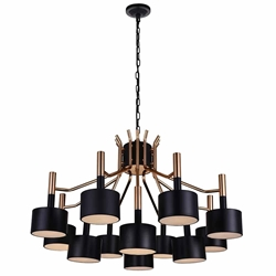"32"" 12 Light Down Chandelier with Matte Black & Satin Gold finish"