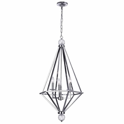 "39"" 3 Light Chandelier with Chrome Finish"