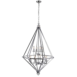 "54"" 12 Light Chandelier with Chrome Finish"