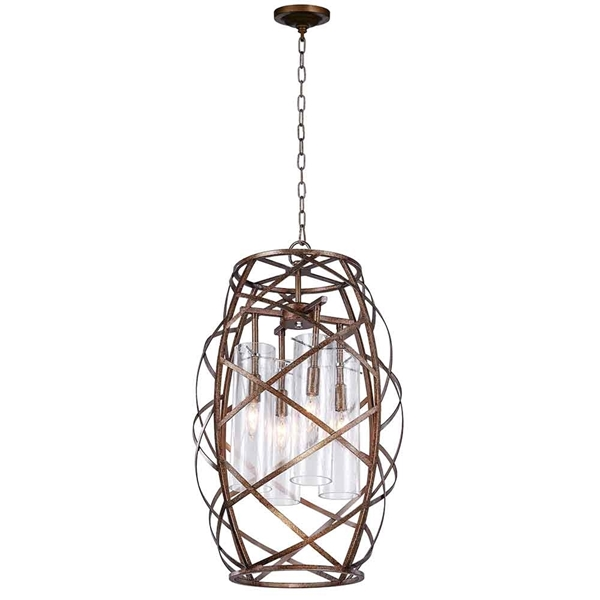 "Picture of 26"" 4 Light Chandelier with Wood Grain Bronze Finish"
