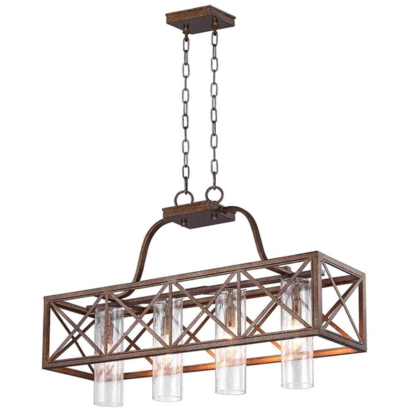 "Picture of 34"" 4 Light Chandelier with Wood Grain Bronze Finish"