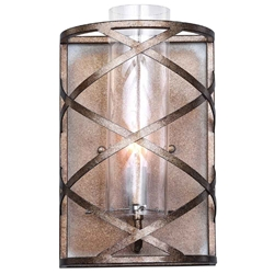 "12"" 1 Light Wall Sconce with Wood Grain Bronze Finish"