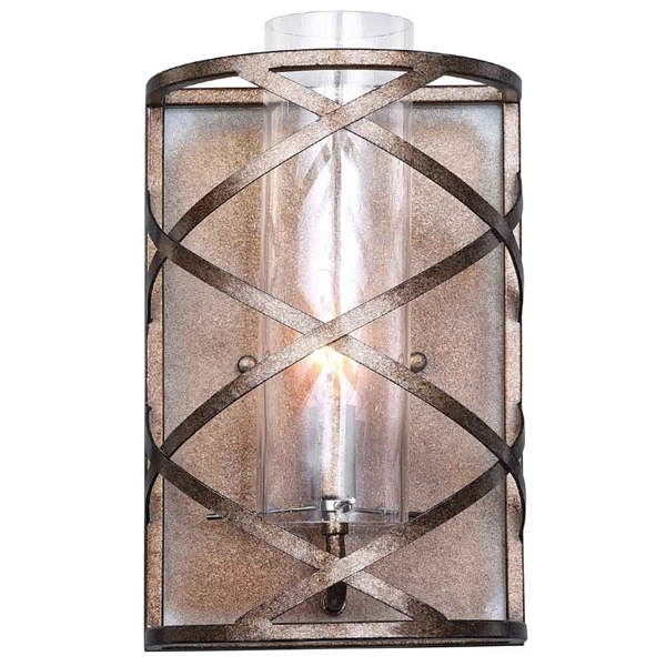 "Picture of 12"" 1 Light Wall Sconce with Wood Grain Bronze Finish"