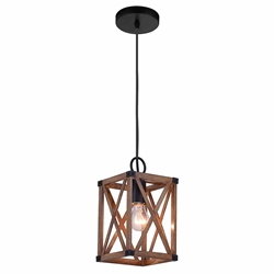 """11"""" 1 Light Pendant with Wood Grain Brown Finish"""