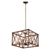 "Picture of 18"" 4 Light Chandelier with Wood Grain Brown Finish"