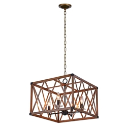 """18"""" 4 Light Chandelier with Wood Grain Brown Finish"""