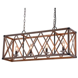 """36"""" 4 Light Chandelier with Wood Grain Brown Finish"""