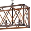 "Picture of 36"" 4 Light Chandelier with Wood Grain Brown Finish"