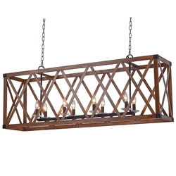 """51"""" 8 Light Chandelier with Wood Grain Brown Finish"""