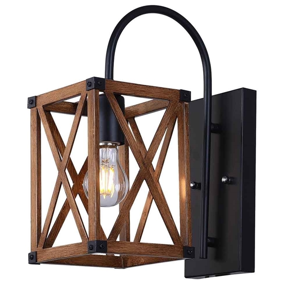 "Picture of 14"" 1 Light Wall Sconce with Wood Grain Brown Finish"