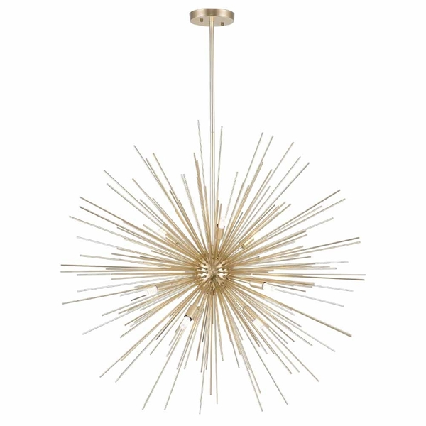 "Picture of 30"" 9 Light Chandelier with Gold Leaf Finish"