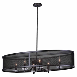 """36"""" 6 Light Chandelier with Black Finish"""